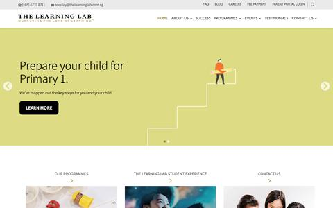 Screenshot of Home Page thelearninglab.com.sg - Singapore's Leading Tuition and Enrichment Centre | The Learning Lab - captured Sept. 17, 2019