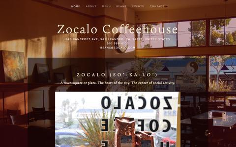 Screenshot of Home Page zocalo.com - Zocalo Coffeehouse - captured Jan. 23, 2015