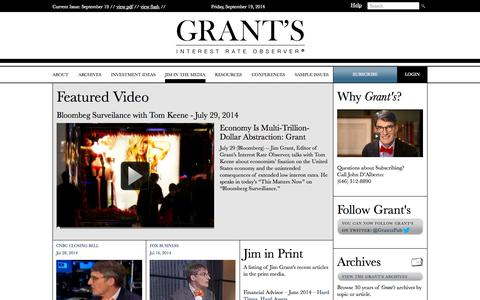 Screenshot of Press Page grantspub.com - Videos | Grant's Interest Rate Observer - captured Sept. 19, 2014