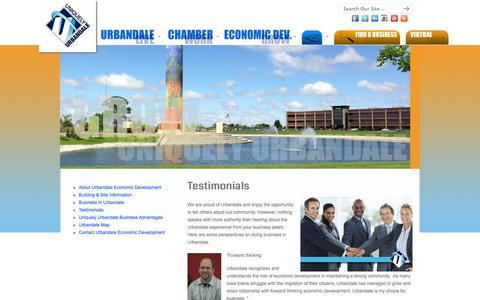 Screenshot of Testimonials Page uniquelyurbandale.com - Testimonials «  Urbandale Chamber OF Commerce, Urbandale Business Development Group and The City of Urbandale, Iowa - captured Oct. 6, 2014