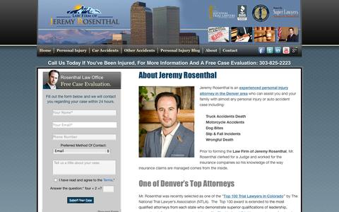 Screenshot of About Page Terms Page coloradojusticenow.com - Law Firm of Jeremy Rosenthal | About Jeremy Rosenthal - captured Oct. 26, 2014