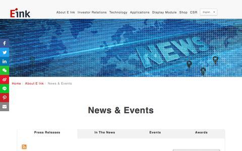 Screenshot of Press Page eink.com - E Ink │ Creativity on Display - captured July 12, 2018