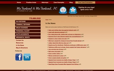 Screenshot of Press Page mcfarlandmcfarland.com - Press Mentions for McFarland & McFarland, P.C. | Cumming, GA - captured Oct. 27, 2014