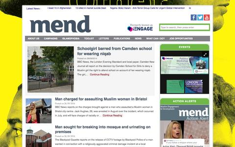 Screenshot of Home Page iengage.uk.net - MEND - Media Awareness   Political Participation - captured Oct. 1, 2014