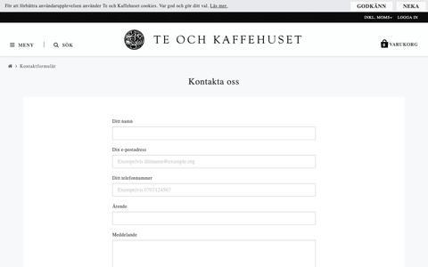 Screenshot of Contact Page teochkaffehuset.se - Kontaktformulär - Te och Kaffehuset - captured Dec. 20, 2018