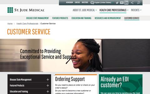Screenshot of Support Page sjm.com - Customer Service | St. Jude Medical - captured Feb. 17, 2017