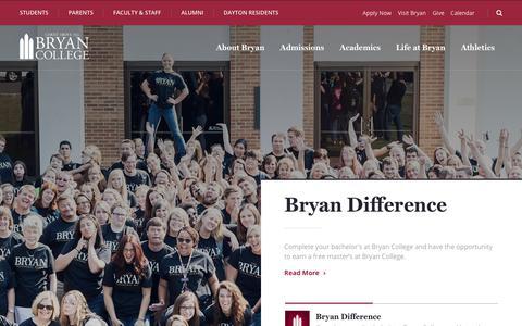 Screenshot of Home Page bryan.edu - Home - Bryan College - captured Sept. 22, 2018