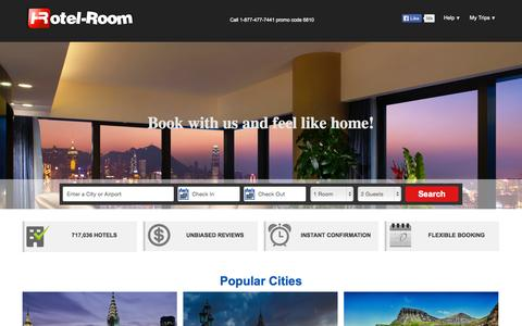 Screenshot of Home Page hotel-room.com - Hotel-Room - Find Hotel Deals, Cheap Rooms & Discount Rates - captured Sept. 17, 2015