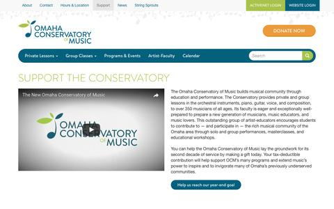 Screenshot of Support Page omahacm.org - Support the Conservatory | Omaha Conservatory of Music - captured April 25, 2017