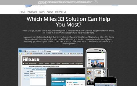 Screenshot of Products Page miles33.com - Editorial, advertising and mobile Content Management - captured Aug. 12, 2016