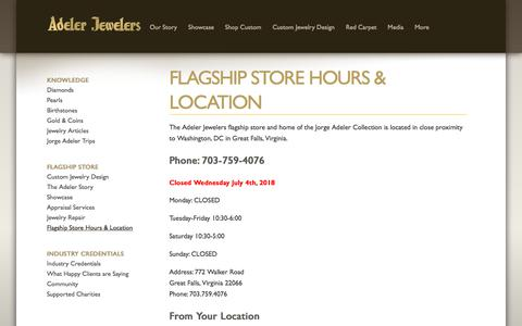 Screenshot of Contact Page Maps & Directions Page adelerjewelers.com - Adeler Jewelers Flagship Store Location in Virginia - captured July 29, 2018