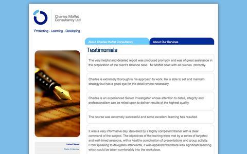 Screenshot of Testimonials Page charlesmoffatconsultancy.co.uk - Testimonial | Charles Moffat Consultancy - captured Oct. 2, 2014