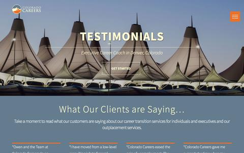 Screenshot of Testimonials Page coloradocareers.com - Testimonials | Executive Job Search, Corporate & CEO Jobs - captured July 20, 2018