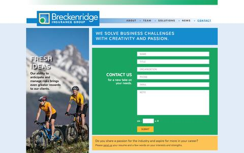 Screenshot of Contact Page breckis.com - Contact   Breckenridge Insurance GroupBreckenridge Insurance Group - captured Oct. 5, 2014