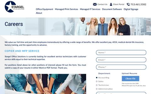 Screenshot of Jobs Page stargel.com - Managed Office Services | Carrers | Stargel - captured Oct. 18, 2018