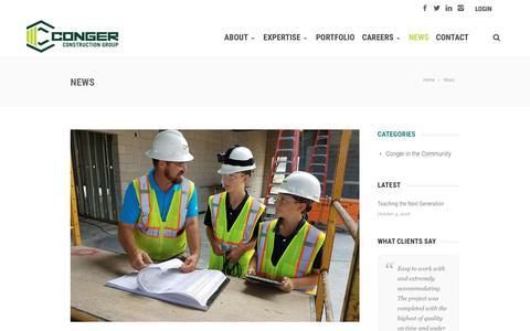 Screenshot of Press Page congerbuilt.com - News - Conger Construction Group - captured Nov. 9, 2018