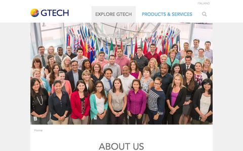 Screenshot of About Page gtech.com - ABOUT US | GTECH.COM - captured Oct. 29, 2014