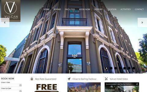 Screenshot of Home Page vulcanhotel.com.au - Accommodation Sydney Ultimo Close to CBD | Cheap Hotels Sydney - captured Oct. 11, 2015