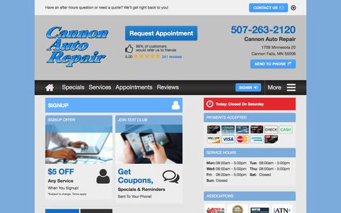 Screenshot of Signup Page cannonautorepair.com - Email Subscribe | Cannon Auto Repair in Cannon Falls, MN - captured July 15, 2018