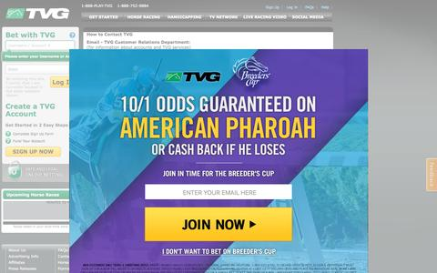 Screenshot of Contact Page tvg.com - Contact Us | Online Horse Race Betting Site | TVG.com - captured Oct. 26, 2015