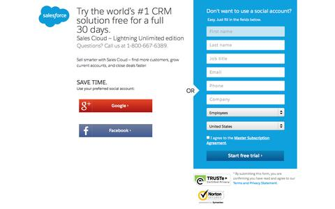 Screenshot of Trial Page salesforce.com - Unlimited Edition Free 30-Day Trial - Salesforce.com - captured March 9, 2017