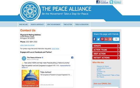 Screenshot of Contact Page peacealliance.org - Contact Us | The Peace Alliance - captured Nov. 16, 2017