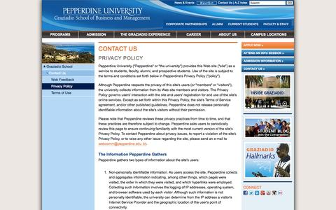 Screenshot of Privacy Page pepperdine.edu - Privacy Policy | Contact Us | Pepperdine University | Graziadio School of Business and Management - captured Sept. 19, 2014