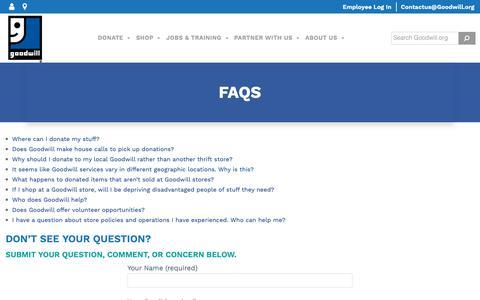 Screenshot of FAQ Page goodwill.org - FAQs - Goodwill Industries International - captured June 13, 2019