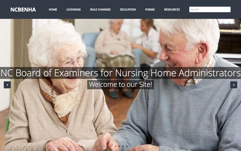 Screenshot of Home Page ncbenha.org - NC Board of Nursing Home Administrators - captured June 22, 2015