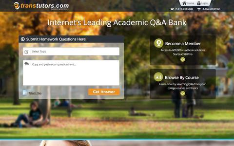 Screenshot of Home Page transtutors.com - Online Tutoring, Homework Help, Assignment Help   Transtutors - captured Sept. 23, 2014