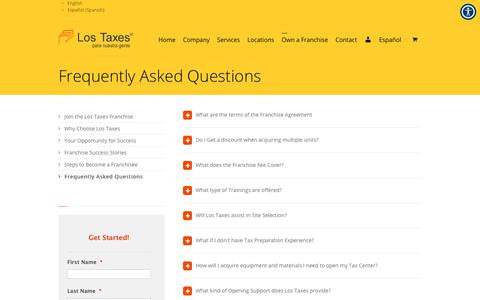 Screenshot of FAQ Page lostaxes.com - Frequently Asked Questions - Los Taxes Para Nuestra Gente - captured Sept. 30, 2018