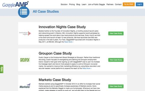 Screenshot of Case Studies Page gaggleamp.com - Case Studies | GaggleAMP - captured Nov. 23, 2015