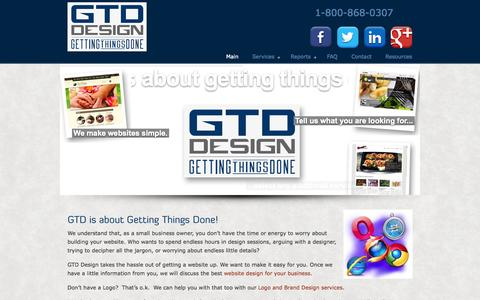 Screenshot of Home Page gtddesign.com - GTD Design - Toronto Websites - captured Sept. 27, 2014