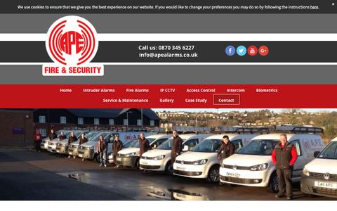 Screenshot of Contact Page apefireandsecurity.co.uk - Contact A.P.E Fire & Security Ltd in Bristol today - captured Oct. 7, 2017