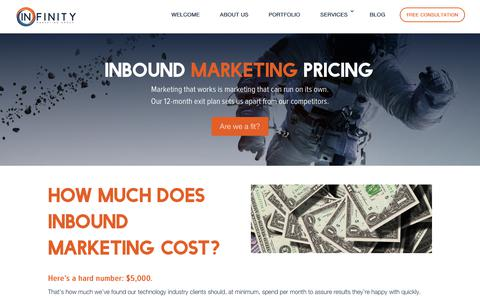 Screenshot of Pricing Page infinitymgroup.com - PRICING - Infinity Marketing Group - captured Oct. 11, 2018