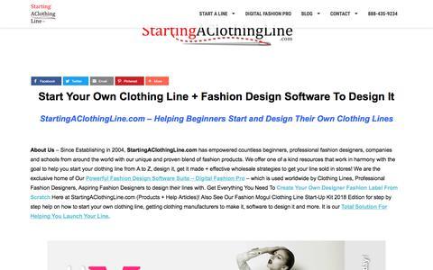 Screenshot of Home Page startingaclothingline.com - StartingAClothingLine.com | Starting A Clothing Line, Fashion Design Software - captured Sept. 23, 2018