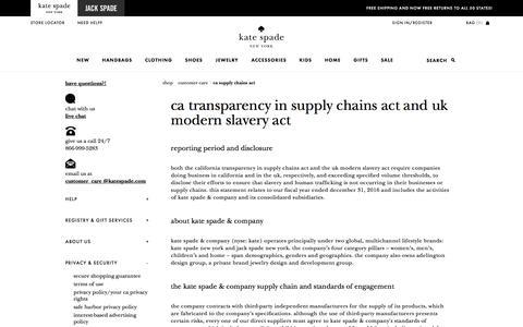 Screenshot of katespade.com - ca supply chains act - captured Aug. 25, 2017