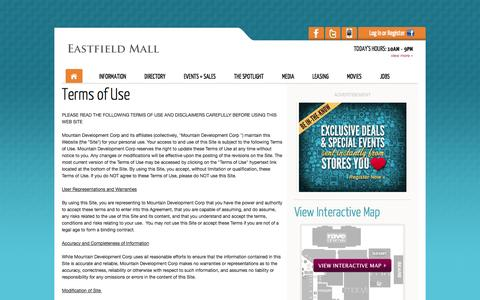 Screenshot of Terms Page eastfieldmall.com - Eastfield Mall :: Terms of Use :: 1655 Boston Road, Springfield, MA. 01129 :: (413) 543-8000 - captured Oct. 22, 2014