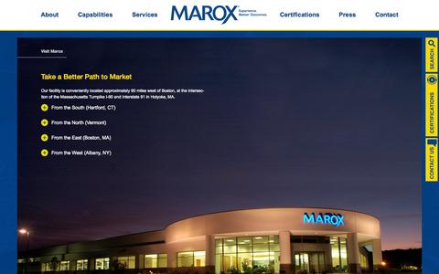 Screenshot of Maps & Directions Page marox.com - Visit Marox - Marox Corporation - captured Oct. 27, 2014