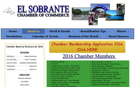 Screenshot of About Page elsobrantecachamber.com - El Sobrante Chamber of Commerce - captured March 8, 2016
