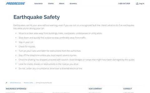 Earthquake Driving Safety Tips - Progressive