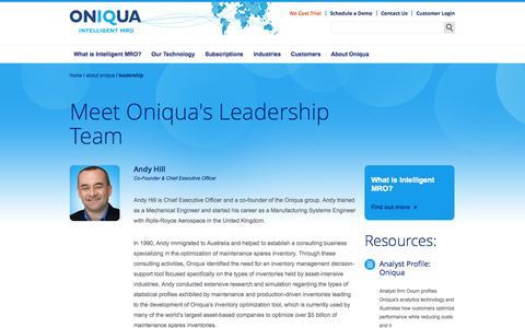 Screenshot of Team Page oniqua.com - Leadership | Oniqua | Inventory Optimization Software - captured Oct. 26, 2014