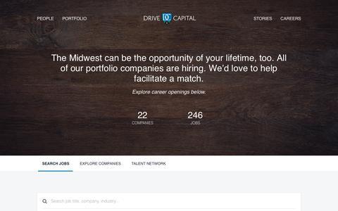 Screenshot of Jobs Page drivecapital.com - Jobs | Drive Capital Talent Network - captured Aug. 8, 2018