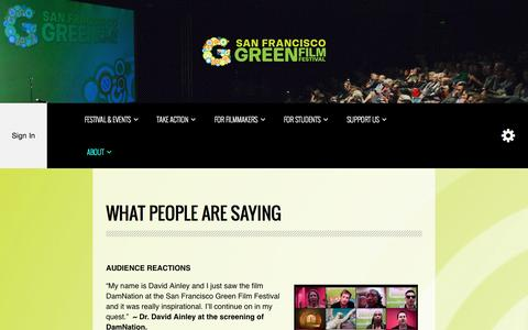 Screenshot of Testimonials Page sfgreenfilmfest.org - What People Are Saying - San Francisco Green Film Festival - captured Oct. 4, 2014