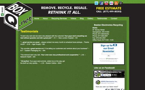 Screenshot of Testimonials Page boxq.net - Electronics Recycling Boston MA | e-Waste Recycling Boston | Computer Recycling Boston | BoxQ - captured Feb. 8, 2016