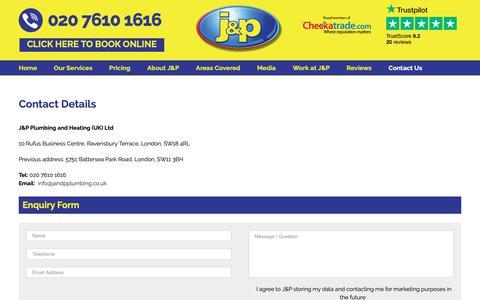 Screenshot of Contact Page jandpplumbing.co.uk - Contact Us - J and P Plumbing and Heating - captured Sept. 30, 2018