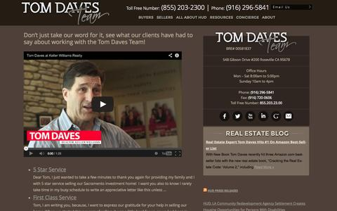 Screenshot of Testimonials Page tdaves.com - Placer, Sacramento, El Dorado & Yolo Counties Real Estate - The Tom Daves Team - captured Oct. 3, 2014