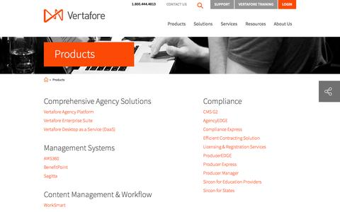Screenshot of Products Page vertafore.com - Insurance Software Products | Vertafore - captured Sept. 19, 2014