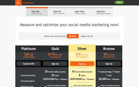 Screenshot of Signup Page crowdbooster.com - Crowdbooster Signup - captured Sept. 13, 2014