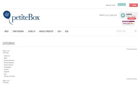Screenshot of Site Map Page petitebox.com.br - Site Map - captured Sept. 25, 2014
